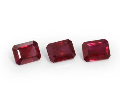 Ruby 4x3mm Emerald Cut Mid Red (E)
