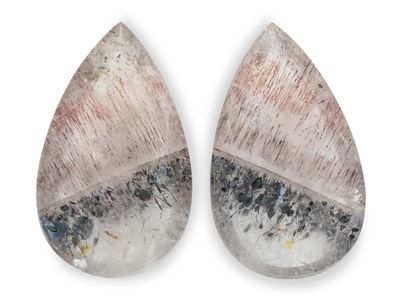 Quartz with Lepidocrocite 34x19mm Pear Pair (N)