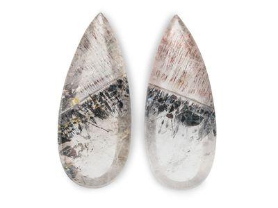 Quartz with Lepidocrocite 34x13mm Pear Pair (N)