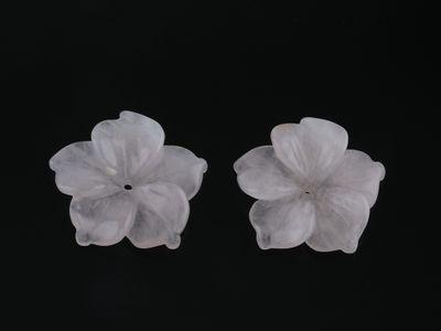 Rose Quartz 20mm Carved Flowers 5 Petal (N)