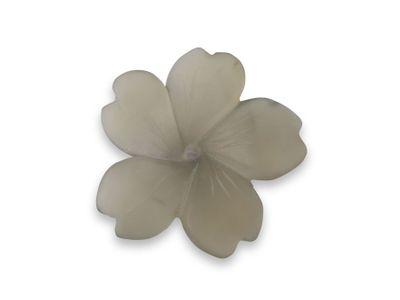 Smoky Quartz 32x30mm Carving Flower Matt w/ centre hole (N)