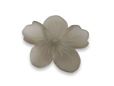 Smoky Quartz 34x29mm Carving Flower Matt w/ centre hole (N)