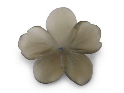 Smoky Quartz 40mm Carving Flower Matt w/ centre hole (N)