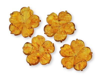 Amber Light 30mm 5 Petal Flowers (T)