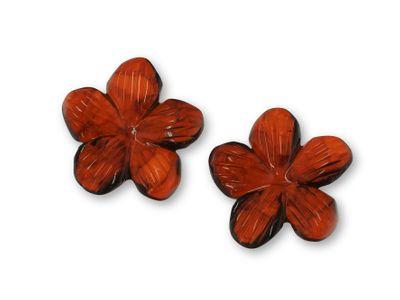 Amber Dark Mottled 19mm 5 Petal Flower PAIR (T)
