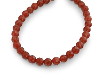 Carnelian 12mm Faceted Round (T)