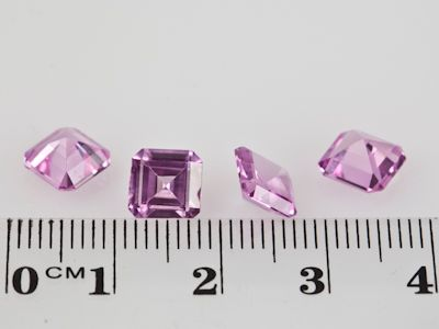 Synthetic Sapphire Pink 7mm Square Emerald Cut (S)