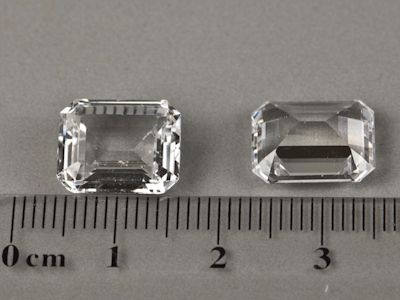 Synthetic White Spinel 12x10mm Emerald Cut (S)