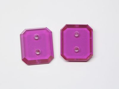 Syn Ruby Pink 12x10mm Emerald BT Double Drilled Hole Flat Back (S)