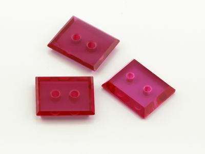 Syn Ruby Pink 12x10mm Rect BT Double Drilled Hole (S)