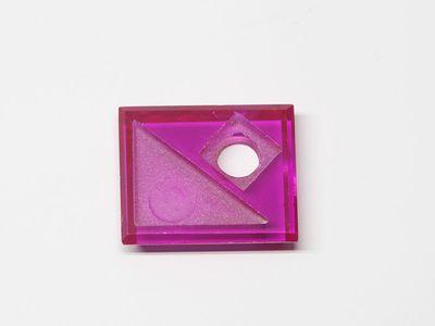 Syn Ruby Pink 12x10mm Rect BT Corner CS w/ Empty Tri Hole (S)