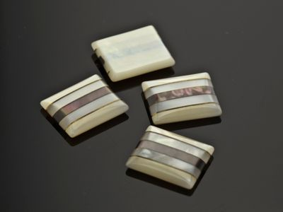 Mother of Pearl 12x10mm Rect BT w/ 3 Vertical Stripe across