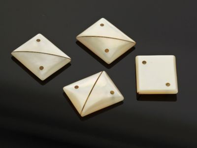 Mother of Pearl 12x10mm Rect BTw/ Stripe across and 2 Marcasite hole (N)
