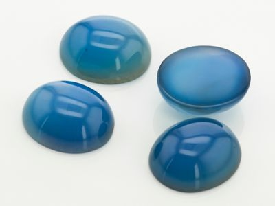 Dyed Blue Agate 14x12mm Oval Cab Light (T)