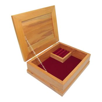 JEWELLERY BOX - RIMU - STD, BURGUNDY
