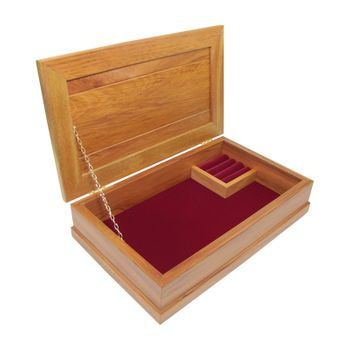 JEWELLERY BOX - RIMU - LARGE, BURGUNDY