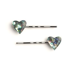 HAIR CLIP PAIR - PAUA HEART