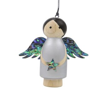 WOODEN ANGEL DECORATION - SILVER HANGING