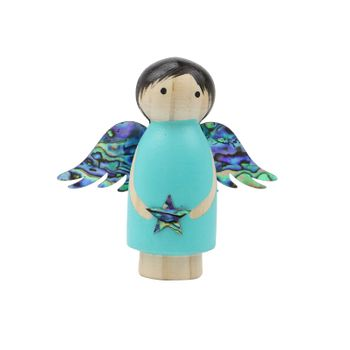 WOODEN ANGEL DECORATION - TEAL STANDING