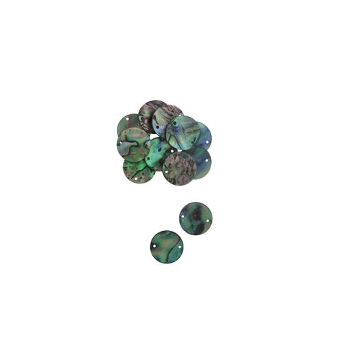 SHELL BLANK NATURAL CURVE, GROUND BACK, TUMBLED POLISHED-PAUA - CIRCLE - 20MM SIDEHOLES [32L] (DOZ)