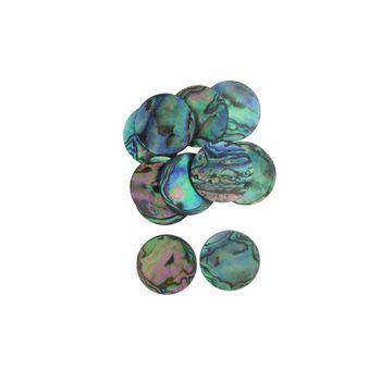 SHELL BLANK NATURAL CURVE, POLISHED, ORIGINAL BACK - PAUA - CIRCLE - 32MM [50L] (DOZ)