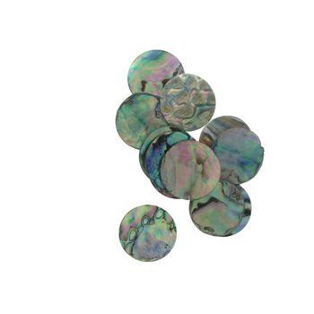 SHELL BLANK NATURAL CURVE, POLISHED, ORIGINAL BACK - PAUA - CIRCLE - 40MM [64L] (DOZ)
