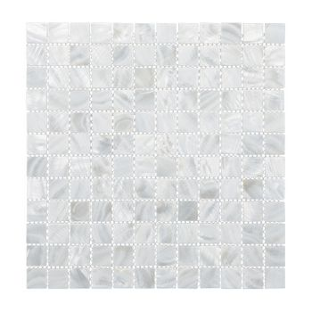 SOLID SHELL MOSAIC TILE - F/W MOP WHITE SQUARE - 25*25MM/318*318MM