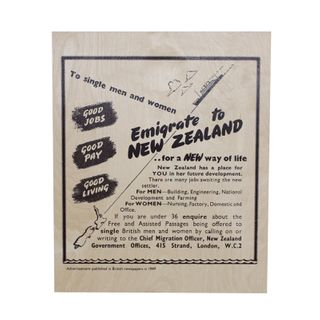 EMIGRATION 1949 - WOODEN POSTER
