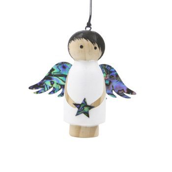 WOODEN ANGEL DECORATION - WHITE HANGING