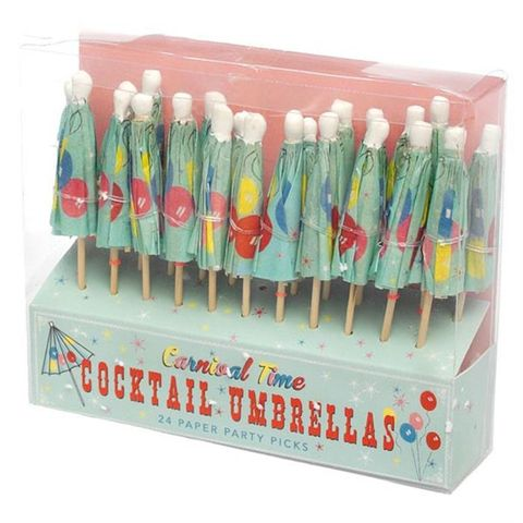 **Cocktail Umbrellas, Carnival, set of 24