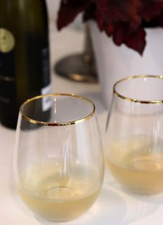 Stemless Wine Glass, w Gold Rim set of 4