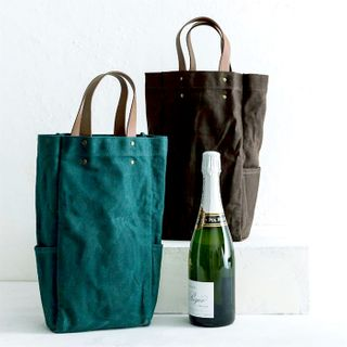 Waxed Canvas Bottle Tote w leather handles, Diesel Green