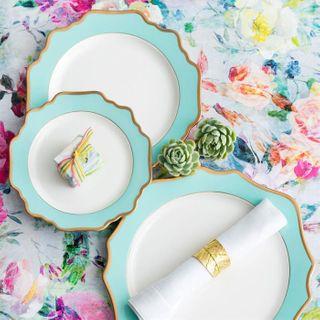 Floraison Dessert Plate, Tiffany Blue