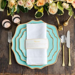 Floraison Dinner Plate, Tiffany Blue