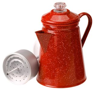 Red Enamel Vintage Percolator Coffee Pot