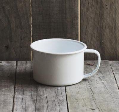 White Enamel Soup Mug