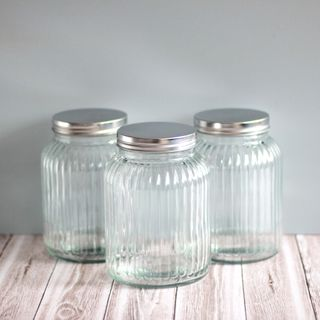 Ribbed Glass Canister 15cm, 900ml