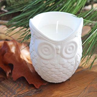 White Cement Owl Candle