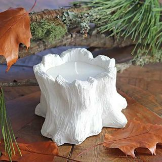 White Cement Tree Stump Candle