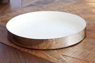 Hammered metal round Tray - 30cm dia, white enamel