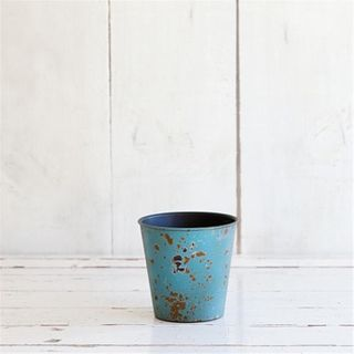 Planter Rusty Look, 11cm dia, aqua