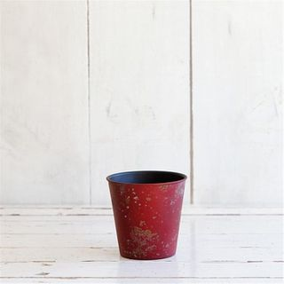 Planter Rusty Look, 11cm dia, red