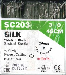 SILK SUTURES 3/0 20MM 1/2IN PKT 24