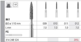 INTENSIV DIAMOND BUR 205L STD (861-012) FG/6