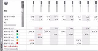 INTENSIV DIAMOND BUR 204 XCRSE (835-015) FG/6