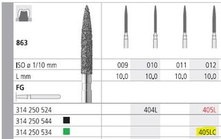INTENSIV DIAMOND BUR 405L CRS (863-012) FG/6