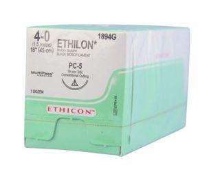 ETHILON SUTURE 4/0 19MM 3/8 CCPRIME/12