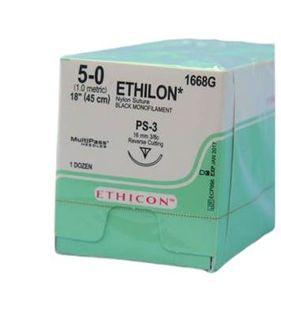 ETHILON SUTURE 5/0 PS-3 45CM /12