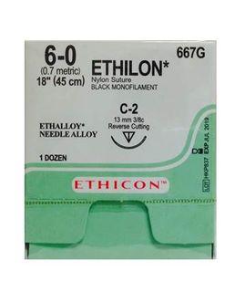 ETHILON SUTURE 6/0 13MM RC/12