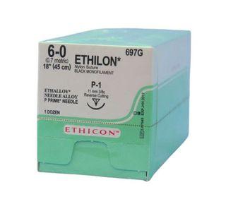 ETHILON SUTURE 6/0 11MM 3/8 P-1 /12